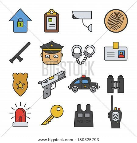 Police color icon set. Security agency isolated vector illustration. On white background.