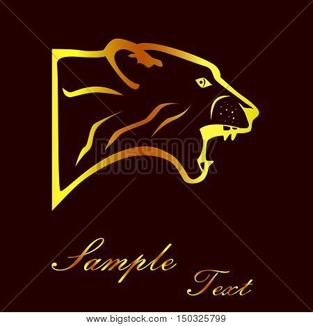 the illustration - the silhouette of a puma in gold.