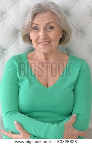 Portrait of a happy senior woman at home
