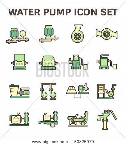 Water pump and agricultural equipment icon set isolated on white background.