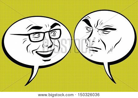Two men joyful and angry. Comic bubble smiley face, pop art retro vector illustration. Human emotions