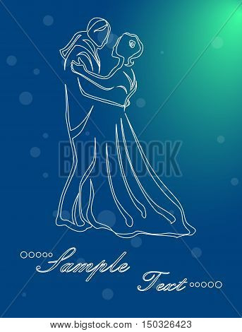 Illustration - silhouettes of people who dance waltz.