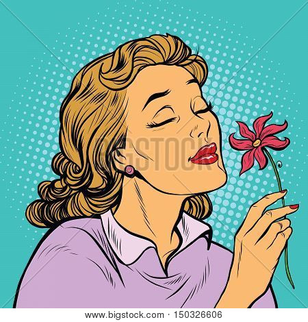 Beautiful woman inhaling fragrance of a flower, pop art retro vector illustration. The seasons of nature, romance and love