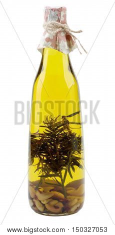 Bottle of Handmade Olive Oil with Rosemary Spices and Garlic isolated on White background
