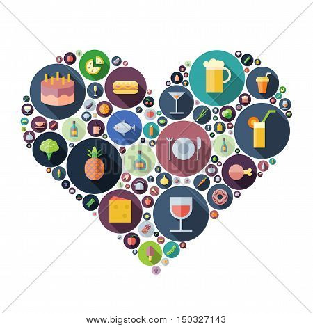 Icons for food and drink arranged in heart shape. Vector illustration.
