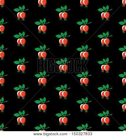 Rosehip seamless pattern. Briar symbols on black background.