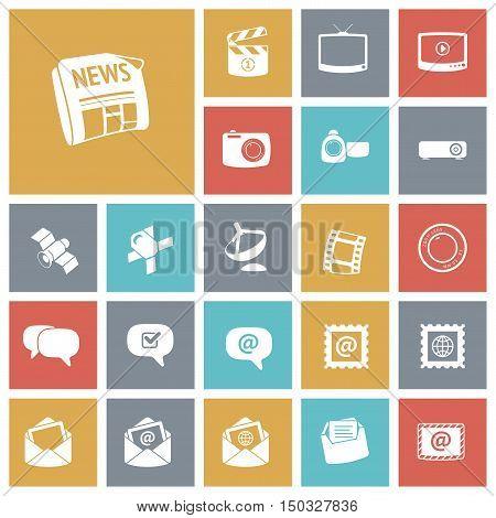 Flat design icons for media. Vector illustration.