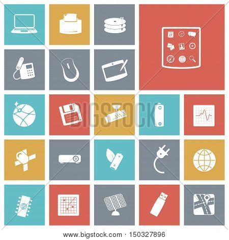 Flat design icons for technology and devices. Vector illustration.