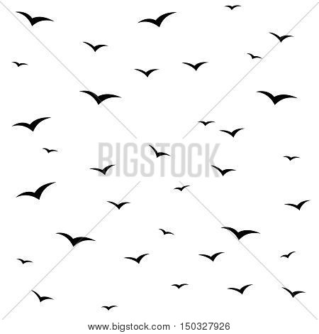 Seagulls swarm or other black birds silhouette seamless pattern background