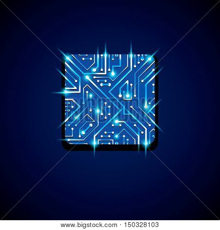 Collection Of Vector Microchip Design, Cpu. Information Communication Technology Element With Sparkl