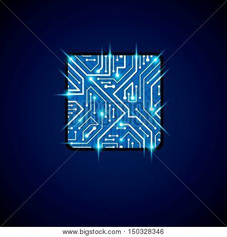 Vector Technology Cpu Design With Square Blue Neon Luminescent Microprocessor Scheme. Computer Circu