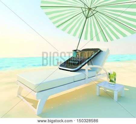Do not disturb! Phone lies on a chaise lounge under an umbrella on the beach.3D illustration