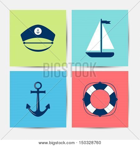 Set of marine symbols. Vector of Nautical and marine icons. Sea symbols. Collection of element: anchor starfish boat lifebuoy compass helm. Sea and nautical decorations. Sea leisure sport.