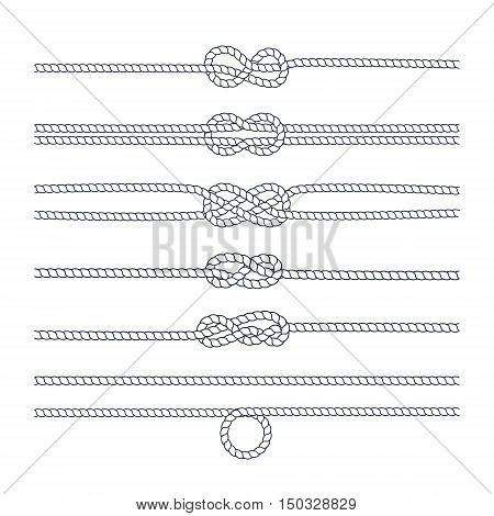 Rope knots collection. Decorative elements. Vector illustration. Nautical rope knots. Vector Rope. Set of nautical rope knots corners and frames.