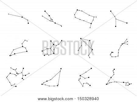 Vector constellations. Zodiac Constellations Set. Space and Stars. Leo Virgo Scorpio Libra Aquarius Sagitarius Pisces Capricorn Taurus Aries Gemini Cancer.
