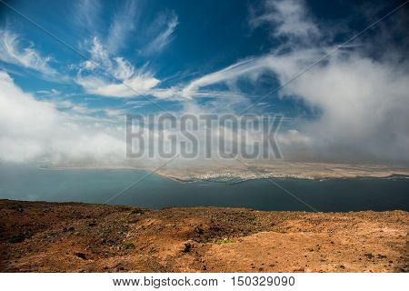 amazing view on neighboring isle and blue sky from Lanzarote, Canary isles, Spain