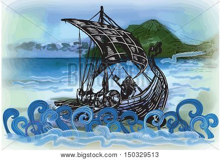 An hand drawn vector in comic style - Drekar boat vikings ship. Marine vessel with an bearded warrior with the axe in his hands.