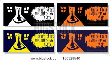 Set Of Halloween Banner Isolated On White Background. Scary Death With Scythe Standing In Door House