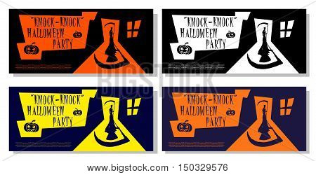 Set of Halloween banner isolated on white background. Scary death with scythe standing in door house. Cartoon style. Design for cards posters flyer or tickets on holiday party. Vector illustration.