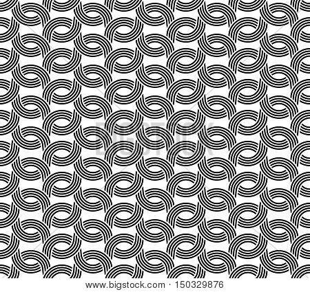 Parallel Rounded Weave Lines Seamless Pattern. Black And White Color.