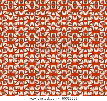 Parallel Rounded Weave Lines Seamless Pattern. Red And White Colors.
