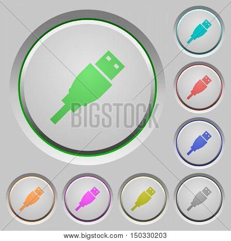 Set of color USB plug sunk push buttons.