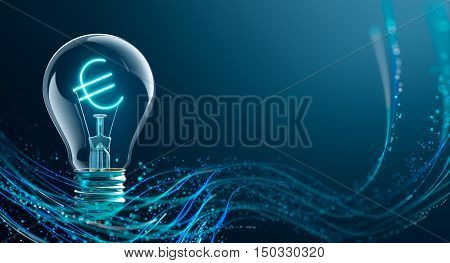 Glowing Euro sign in light bulb - 3D Rendering