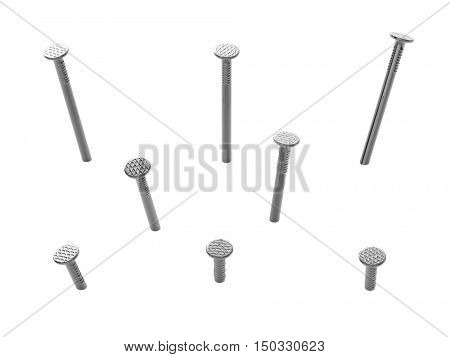 Hummered metal nails isolated on white background. 3D rendering.