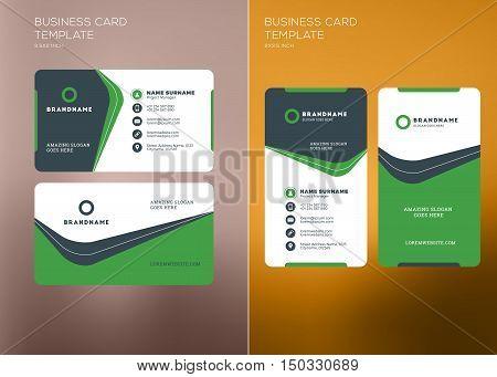 Corporate Business Card Print Template. Vertical And Horizontal Business Card Templates. Vector Illu