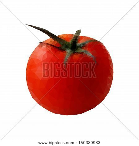 Red ripe juicy tomato on a white background object triangulation