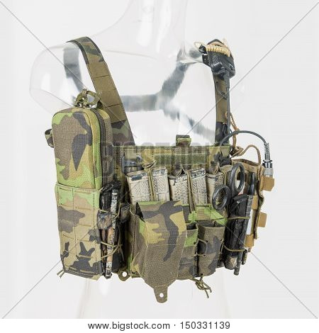 Bulletproof vest with blanks and radio bulletproof vests caps fully equipped tactical vest Camouflage Brown.