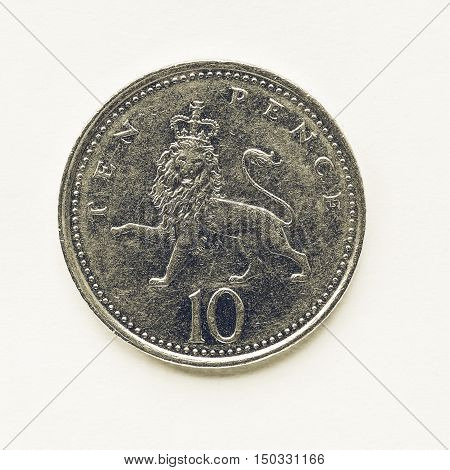 Vintage Uk 10 Pence Coin