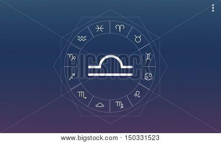 Libra Horoscope Zodiac Fortune Graphic Concept