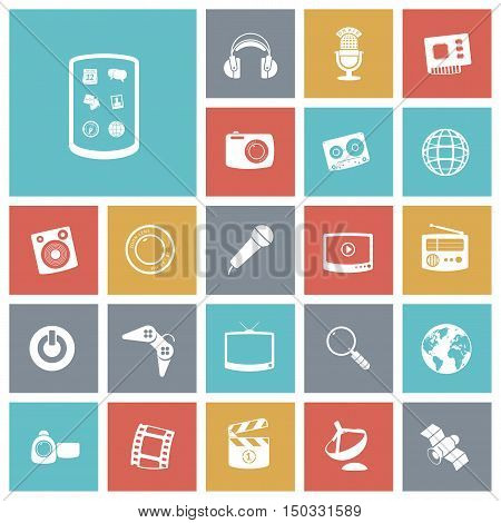 Flat design icons for technology and entertainment. Vector illustration.