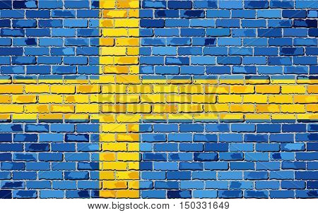 Flag of Sweden on a brick wall - Illustration,  Sweden flag on brick textured background,  Grunge flag of Swedish painted on brick wall, Flag of Swedish in brick style,  Abstract grunge mosaic vector