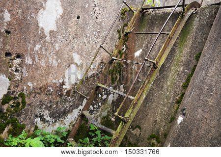 Rusted Old Metal Ladder Goes Up