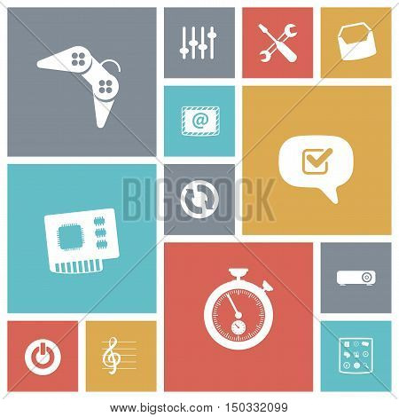Flat design icons for user interface. Vector illustration.
