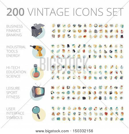 Vintage Icons Set For Business And Technology.