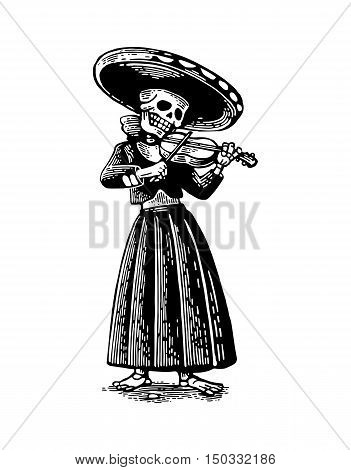 Day of the Dead Dia de los Muertos. The skeleton in the Mexican woman national costumes sing and play the violin. Vector hand drawn vintage engraving for poster label. Isolated on white background