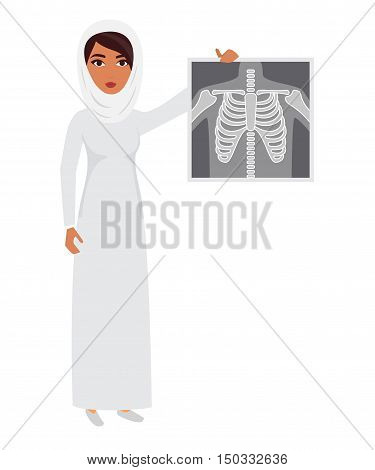 Arab muslim doctor wearing veil hijab with x-ray film