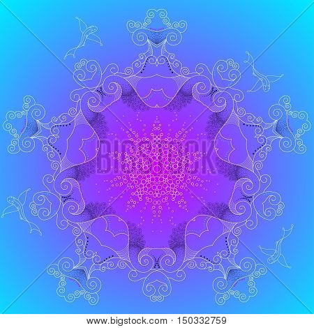 Abstract illustration. Flying fishes on the deep sea. Turquoise blue and purple colors of the gradient.