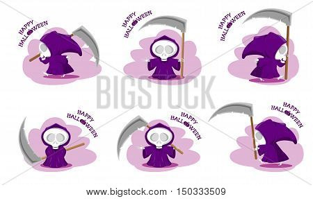 Set of funny little death with a large scythe in different poses with title Happy Halloween isolated on white background. Cartoon style. Vector illustration