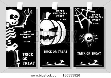 Set of funny holiday banner: title Happy Halloween party Trick or Treat and skeleton pumpkin spider. Concept design cards flyers posters. Vector illustration in flat or kids paper applique style