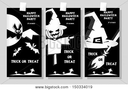 Set of funny holiday banner: title Happy Halloween party Trick or Treat and witch hat scarecrow bats. Concept design cards flyers posters. Vector illustration in flat or kids paper applique style