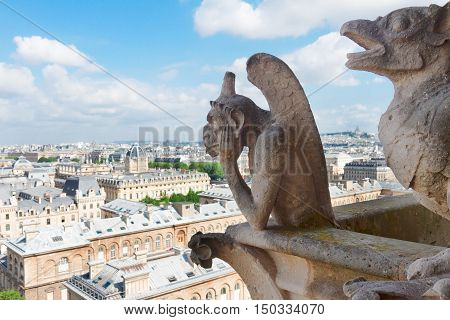 Gargoyle of Paris on Notre Dame Cathedral church and Paris cityscape from above, France