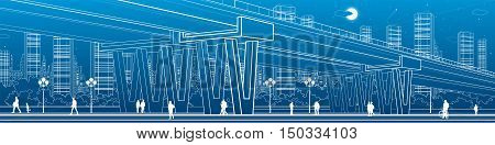 Flyover, architectural and infrastructure panorama, transport overpass, highway, white lines urban scene, people walking, night city on background, vector design art