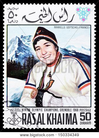 RAS AL KHAIMA - CIRCA 1968 : Cancelled postage stamp printed by Ras Al Khaima, that shows  Marielle Goitschel.