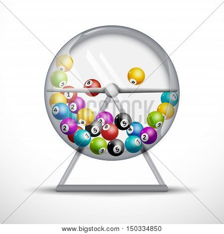 Lottery machine with lottery balls inside. Lotto game luck concept illustration.