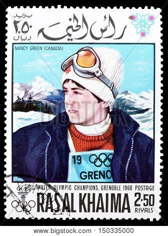 RAS AL KHAIMA - CIRCA 1968 : Cancelled postage stamp printed by Ras Al Khaima, that shows  Nancy Green.