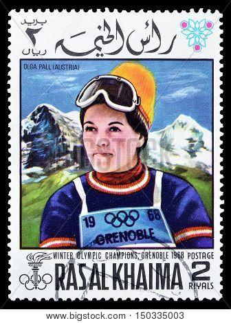 RAS AL KHAIMA - CIRCA 1968 : Cancelled postage stamp printed by Ras Al Khaima, that shows  Olga Pall.